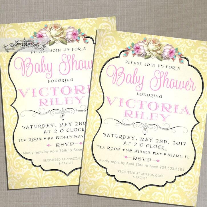 pink and yellow baby shower invitations girl shabby chic
