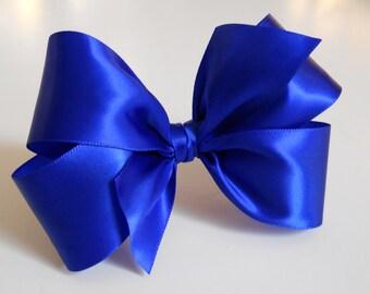 Sapphire Blue Hair Bow - Girls Hair Bow - Toddler Hair Bow - Satin Ribbon Hair Bow - Shiny Hair Bow - Hair Accessory - Hair Clip - Blue Bow