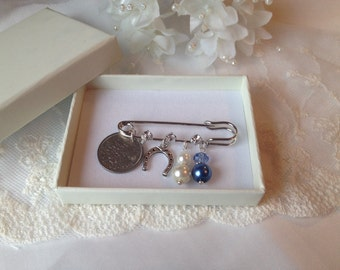 Something Old, Something New, Something Borrowed, Something Blue Bridal Pin