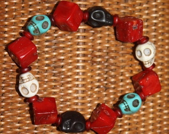 Stretch Halloween Bracelet of Blood Red Chunky Coral with Skulls of Turquoise - Cream - Black