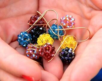 Swarovski earrings / Swarovski balls earrings / Beaded Earrings / Beaded Jewelry / dangle earrings