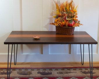 The Cielo - Mid century modern coffee table featuring black walnut & Leopard wood top with hairpin legs, End Table, coffee Table