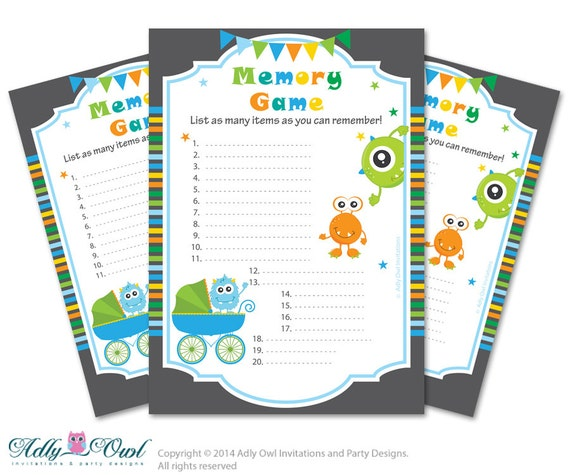 memory game for baby shower printable card for baby monster shower