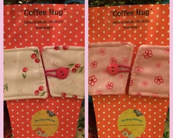 "Reversible ""Coffee Hug"" - Cherries & Flowers - Everyone loves warm hugs...even your coffee!"