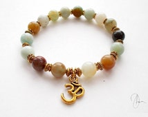 Amazonite Om Bracelet Gold -Yoga Meditation Spiritual Reiki Semi-precious Gemstone Beaded Throat Chakra Stone - Luck, Energy, Balancing