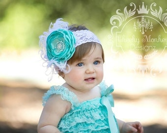 Aqua Satin Singed Flower Headband ~ Smash Cake Outfit ~ Baby Infant Girls Teen Adult Headband ~ Couture Headband ~ Feathers and Lace