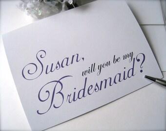 Personalized bridesmaid invitation, bridesmaid card, bridal party card, bridesmaid proposal card, bridal party invitation