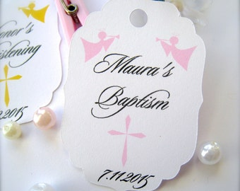 Baby baptism favor tags, christening favor tags, first communion, confirmation favor tags, baby baptism decor - 30 count