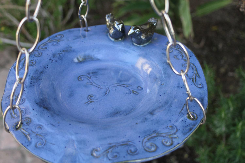 Lovebirds Hanging Bird Bath Blue Hanging Bird Feeder Ceramic