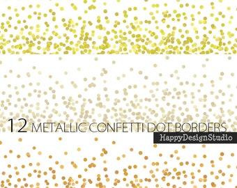 Digital border dot confetti glitter gold silver metallic dots clipart clip art invitation scrapbooking Christmas decoration paper crafts DIY