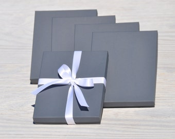 50 Charcoal Grey 7x5.5x1 Gift Jewelry Gray Necklace Boxes with Cotton Fill Invitation Box