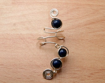 Ear cuff. Spiral designed Lapis Lazuli silver cuffs, single or two ear cuff matching sets. Also available in a variety of plated metals.