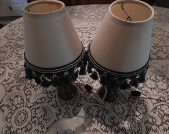 Brass Etched Painted Boudoir Lamps