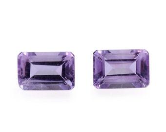 African Amethyst Loose Gemstones Set of 2 Octagon Cut 1A Quality 6x4mm TGW 0.95 cts.