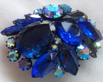 Vintage Large Japanned Shades of Blue Rhinestone Brooch