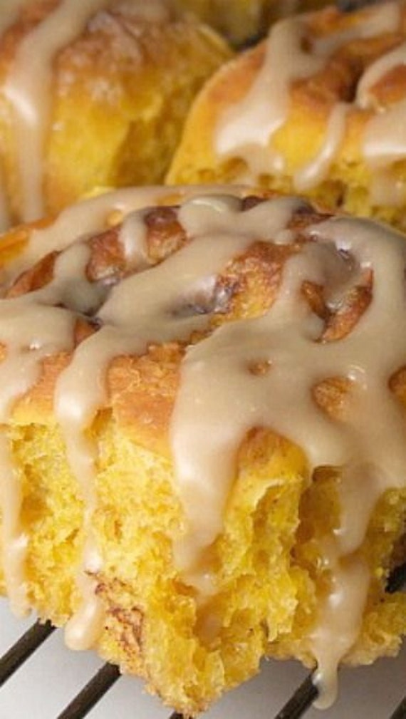 Amish Pumpkin Cinnamon Rolls & Caramel Icing Recipe 99 cents PDF File