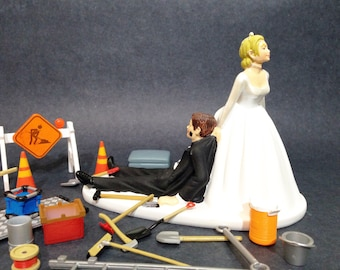 No Construction Work Funny Wedding Cake Topper Bride Dragging Groom Perfect Cake Topper For Construction Worker Road Worker Groom
