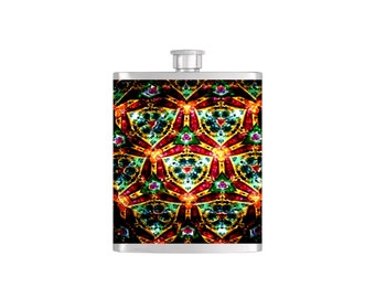 Kaleidoscope Bridal Party Bridesmaid Flask Pack with Funnel Stainless Steel 8 oz Liquor Hip Flasks - Flask #216