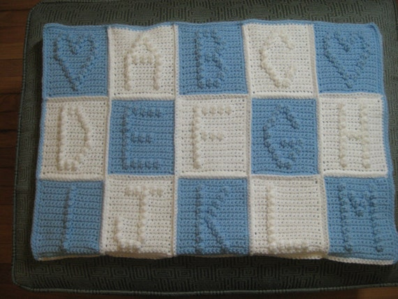 Items similar to Crochet alphabet abcs blanket custom color letters ...