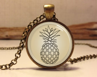 TROPICAL PINEAPPLE necklace . pineapple pendant jewelry . Pineapple jewelry art.  tropical jewelry (Pineapple #1)