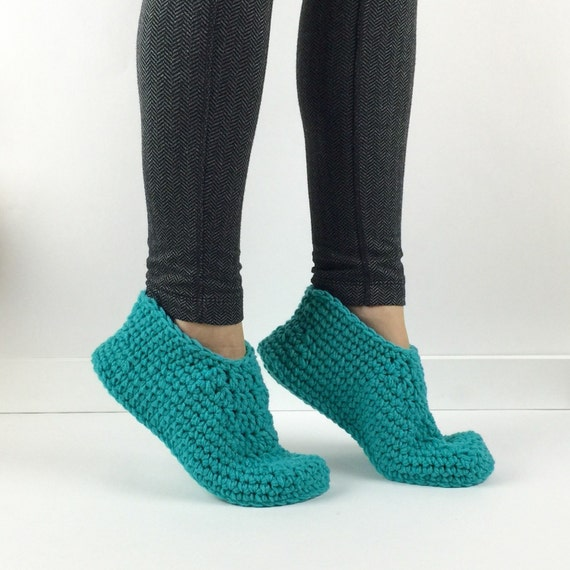 Items similar to crochet teal slippers knitted slippers for Minimalist house slippers