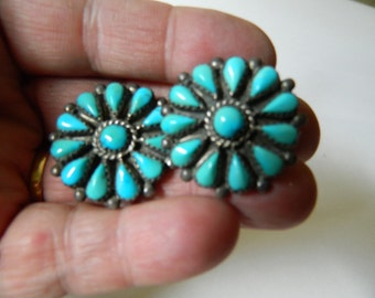 Native American-hand made-Turquoise and silver Earrings-SALE 79