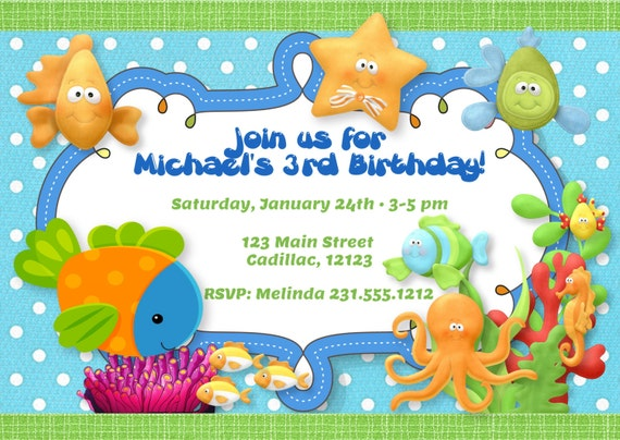 under the sea theme birthday party invitation by fabpartyprints birthday invitations - Under The Sea Party Invitations