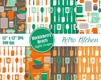 80% OFF SALE Retro Kitchen Baking Digital Paper, Kitchen Scrapbook Paper, Digital Kitchen, Vintage Kitchen Paper, Spoons, Patterns