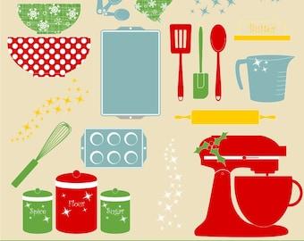 Christmas Kitchen Baking Clipart, Digital Clip Art, Holiday Baking Clipart, Clip Art, Digital Christmas Clipart