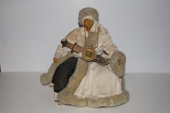 Seated Thai or Tibetan Warrior Doll Resin Paper Wood