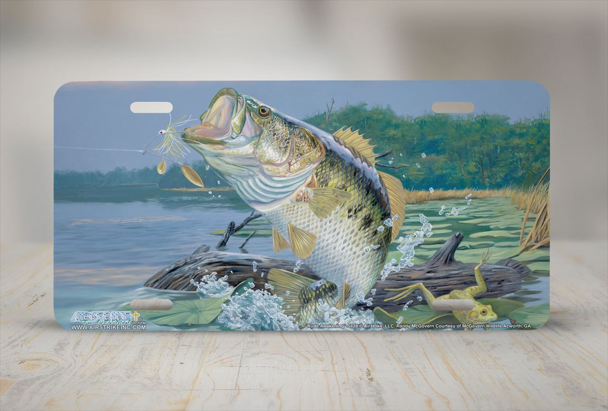 Bass license plate bass fishing car tag bass fish front for Il fishing license