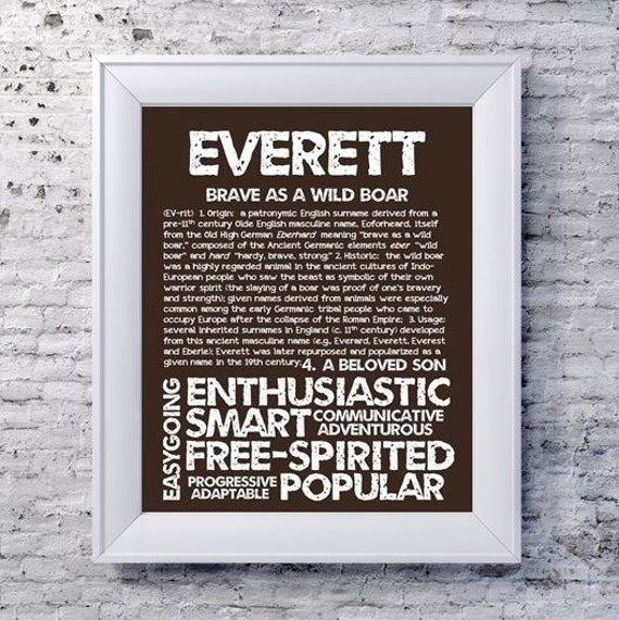 Everett Personalized Name Print Typography Print By