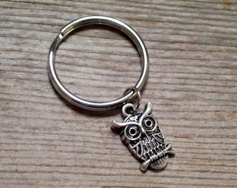 Silver Owl Keychain, Antiqued Silver Owl Key Ring, Bird Nature Key Chain