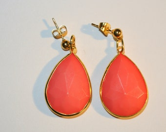 SALE NOW 20% OFF Coral Pink and Gold Earrings