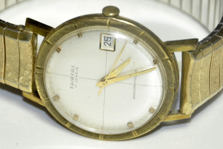 1950s watch fairfax 17 jewel mens watch 1940s watch 🔎zoom