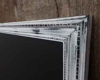 LARGE Magnetic Chalkboard Heavily Distressed White Black Vintage Style Frame - 35 x 23 Magnetic Board - Magnet Board Framed Chalkboard