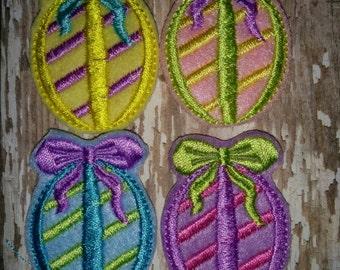 Set of 4 Girly Striped Stripe Egg with Bow Easter Feltie Felt Embellishment Bow! Birthday Party Easter Eggs Planner Clip Bunny