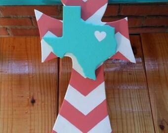 Curvy chevron cross with Texas