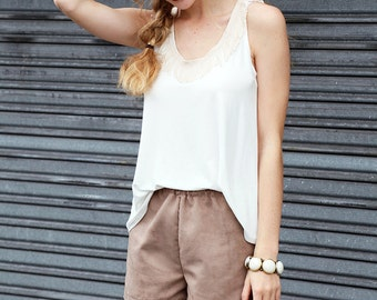 Strappy top nature with fringe - LOA