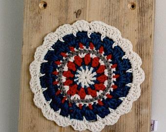"Painting on wood ""Crochet mandala white"""