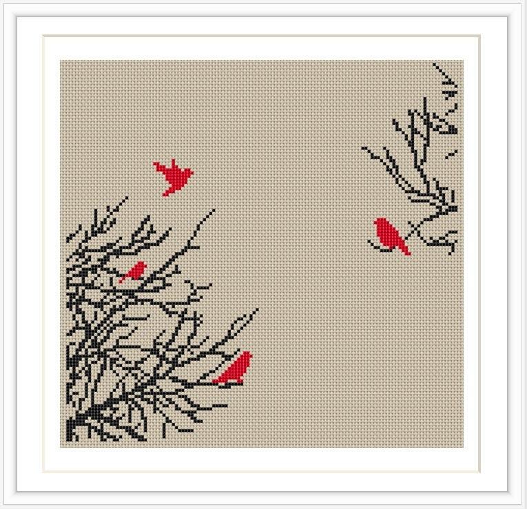 Lotus Cross Stitch Pattern Bird Tree Cross Stitch Pattern