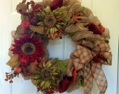 Fall burlap wreath, Fall/Autumn wreath, front door wreath, fall mesh wreath, fall sunflower wreath