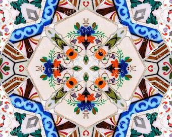 Ceramic transfer Mosaic, size 10 x 10cm (3.94 x 3.94 inch), firing temperature 1400-1562 ºF, ceramic decal tile, mosaic ceramic decal, decal