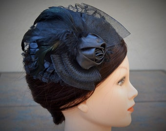 Black fascinator hat, clip on