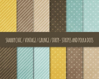 Vintage Grunge Digital Paper: Polka Dots and Stripes Patterns ~ Shabby Chic, Dirty, Distressed Printable Backgrounds ~ Yellow, Brown, Blue