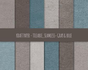 Kraft Digital Paper ~ Gray & Blue Kraft Paper Tileable ~ Kraft Paper Texture, Seamless Pattern ~ Cardboard Paper Texture Background