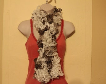 White and tan neutral colored sashay scarf