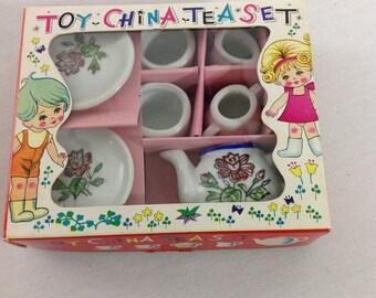 1960s Child's Toy China Tea Set in Original Box, NOS Miniature Doll Tea Set, Floral Toy Teapot