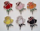 Handmade Stained Glass Rose/Rosebud Suncatcher