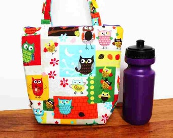 Insulated Lunch Bag / lunch Tote, Australian made, zipped, Waterproof lining – Medium, Owl print Select your fabric!